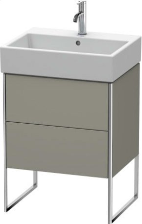 Vanity Unit Floorstanding, Stone Grey Satin Matt Lacquer