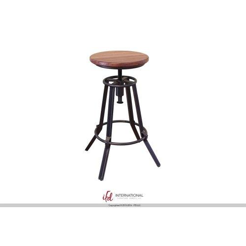 "24-30"" Adjustable Swivel Stool, Parota wooden seat, Iron base Black w/Silver flashes"