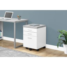 FILING CABINET - 3 DRAWER / WHITE / CEMENT-LOOK ON CASTOR