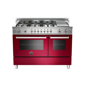 48 6-Burner + Griddle, Gas Double Oven Burgundy - BURGUNDY