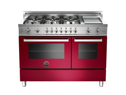 48 6-Burner + Griddle, Gas Double Oven Burgundy