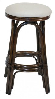 """Vanessa Indoor Swivel Rattan & Wicker 30"""" Bar Stool in Antique Finish with Cushion Product Image"""