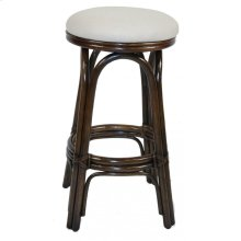 "Vanessa Indoor Swivel Rattan & Wicker 30"" Bar Stool in Antique Finish with Cushion"