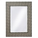Black Agate and White Waxstone Inlaid Mirror, Beveled Glass, Greek Key Motif Product Image