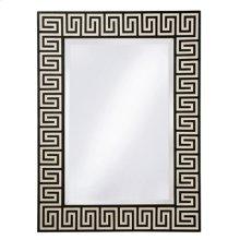 Black Agate and White Waxstone Inlaid Mirror, Beveled Glass, Greek Key Motif