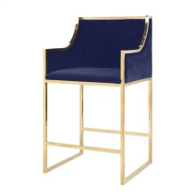 Brass Counterstool With Navy Velvet Upholstery