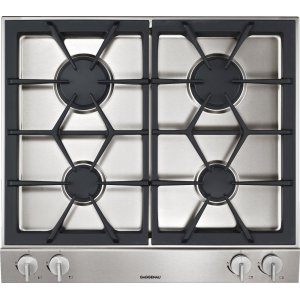 GaggenauVario 200 Series Gas Cooktop Stainless Steel Control Panel Width 24 '' Natural Gas