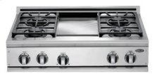 "Brushed Stainless Steel 36"" Prof. Cooktop"
