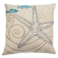 Embroidered Starfish Pillow. Product Image