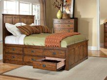 California King Panel Bed, 6 Drawer Storage (each side)