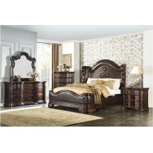 Eastern King Bedroom Set: King Bed, Nightstand, Dresser & Mirror