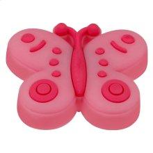 Kids Pink Butterfly Cabinet Knob