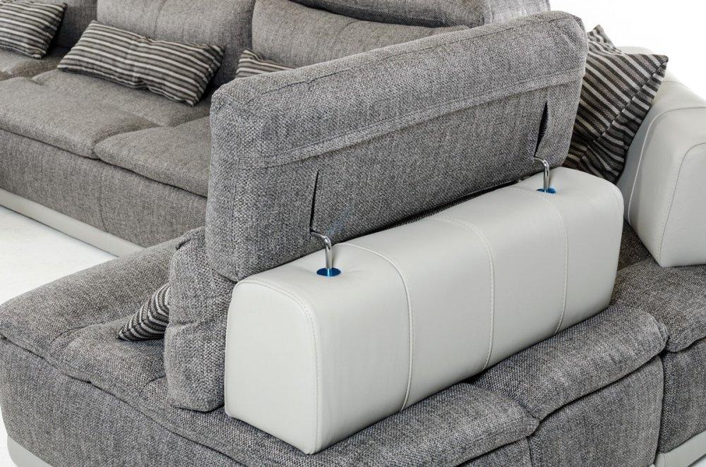 Genial Hidden · Additional David Ferrari Panorama Italian Modern Grey Fabric U0026  White Leather Configurable Sectional Sofa