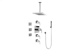 Contemporary Square Thermostatic Set w/Body Sprays & Handshower (Rough & Trim)