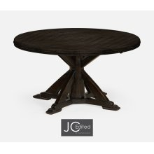 "53"" Dark Ale Parquet Round-To-Oval Dining Table"