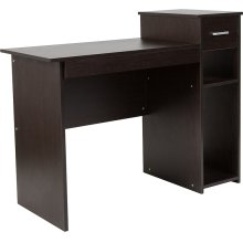 Highland Park Espresso Wood Grain Finish Computer Desk with Shelves and Drawer