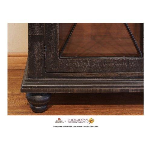 Wine Rack, 2 drawers, glass holder behind door, Black finish