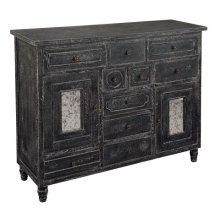 Distressed Black Door & Drawer Chest