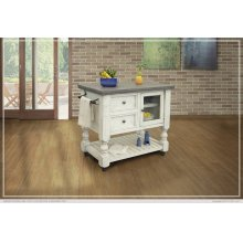 2 Drawer, 1 Glass Door Kitchen Island - Stone finish