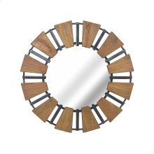 Wood Mirror With Metal Accents, Natural