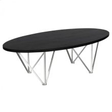 Armen Living Emerald Contemporary Oval Coffee Table in Brushed Stainless Steel with Black Ash Wood Top