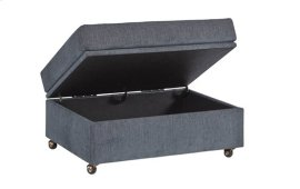 Storage Ottoman - Grayish Blue Chenille Finish