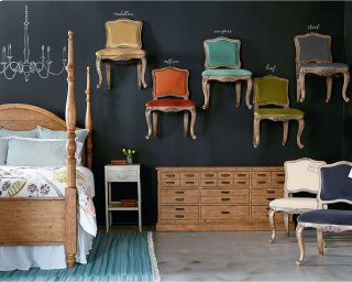 Primitive Bedroom With Flora Chairs