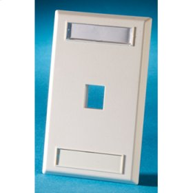 Single gang plastic faceplate, holds one Keystone jack or module, Cloud White