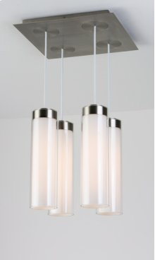FLUORESCENT CIRC MULTI PENDANT SQUARE 4 LIGHT FLAT - BRUSHED NICKEL