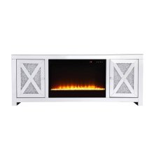 59 in.crystal mirrored TV stand with crystal insert fireplace