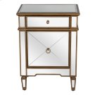 Mirrored Nightstand With Painted Gold Edge and Crosshatch Detailing Product Image