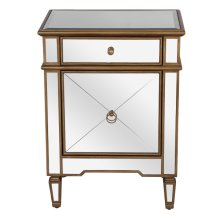 Mirrored Nightstand With Painted Gold Edge and Crosshatch Detailing