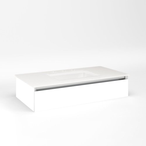"""Cartesian 36-1/8"""" X 7-1/2"""" X 18-3/4"""" Slim Drawer Vanity In Matte White With Slow-close Full Drawer and Night Light In 5000k Temperature (cool Light)"""