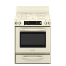 Freestanding Electric Range True Convection Oven Beveled Glass Cooktop Contoured Front Control Knobs Four Elements Three Double-Ring Elements Architect® Series II(Pure Biscuit)