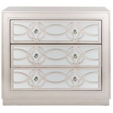 Catalina 3 Drawer Chest - Champagne / Nickel / Mirror