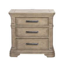 Monterey 3 Drawer USB Charging Nightstand in Sandcastle Beige