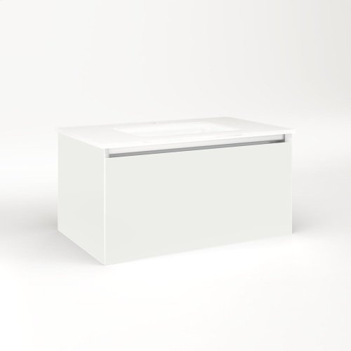 """Cartesian 30-1/8"""" X 15"""" X 18-3/4"""" Single Drawer Vanity In Beach With Slow-close Plumbing Drawer and Night Light In 5000k Temperature (cool Light)"""
