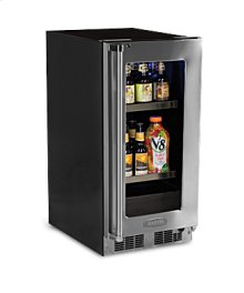"15"" Beverage Center - Panel Overlay Frame Glass Door - Integrated Right Hinge"