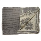 Grey Cableknit Knit Throw with Snowflakes. Product Image