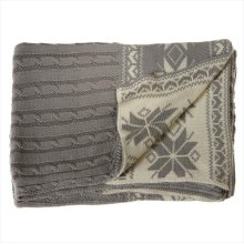 Grey Cableknit Knit Throw with Snowflakes.