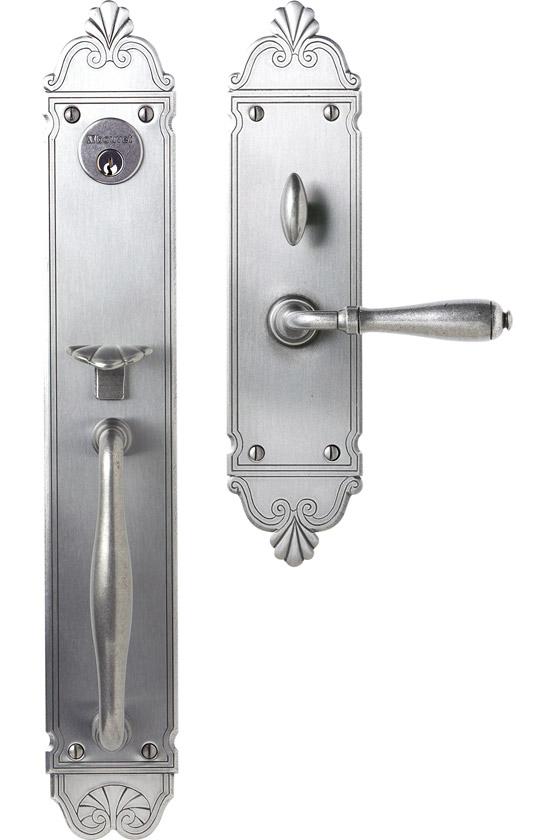 """Mansart Entrance Handle Set - Complete single cylinder set for 2 1/4"""" door"""