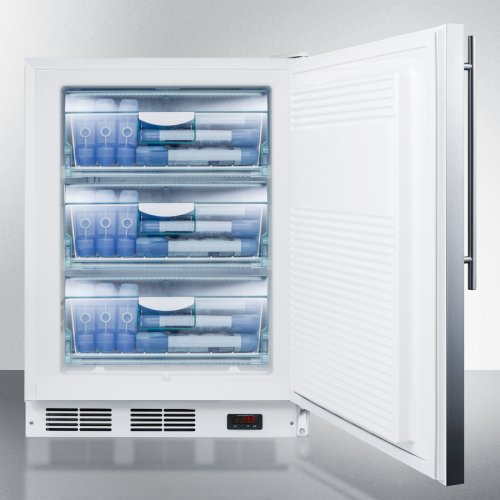 Built-in Undercounter Medical All-freezer Capable of -25 C Operation, With Wrapped Stainless Steel Door and Thin Handle