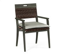 Square Back Grey & Rattan Dining Chair with Cushion, Upholstered in Standard Outdoor Fabric