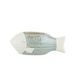 "Ceramic Fish Flower Pot, 9"" Green"