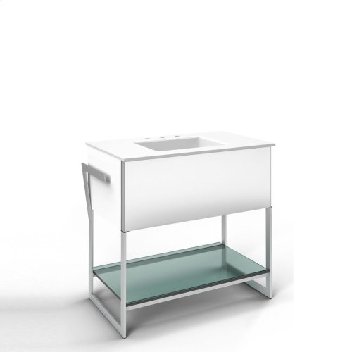 """Adorn 36-1/4"""" X 34-3/4"""" X 21"""" Vanity In White With Slow-close Plumbing Drawer, Towel Bar On Left and Right Side, Legs In Brushed Aluminum and 37"""" Stone Vanity Top In Quartz White With Integrated Center Mount Sink and 8"""" Widespread Faucet Holes"""