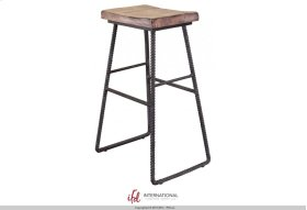 """30"""" Stool - with wooden seat & Iron footrest"""