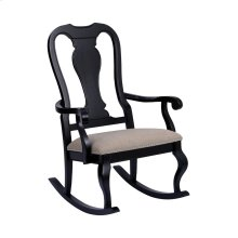 Tress Black With Natural Linen Rocking Chair