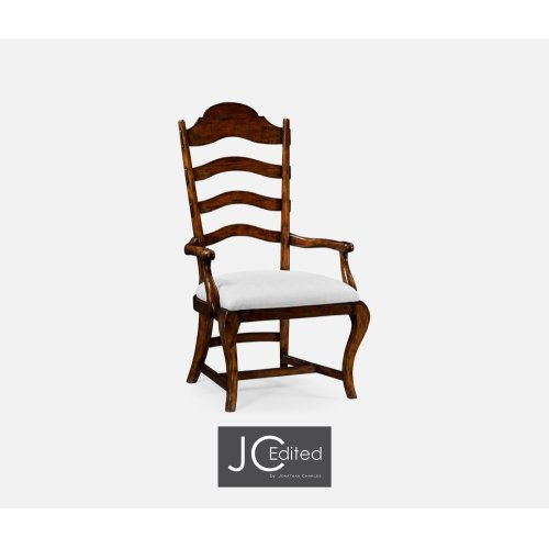 Rustic Walnut Dining Armchair, Upholstered in COM