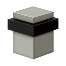 "Square Universal Floor Bumper 2-1/2"", Solid Brass - Brushed Nickel"