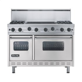 "Metallic Silver 48"" Sealed Burner Range - VGIC (48"" wide, four burners 24"" wide char-grill)"